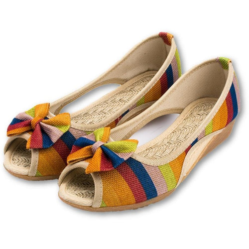 Tree colors Casual Basic Canvas Slip Open Toe Flat Shoes