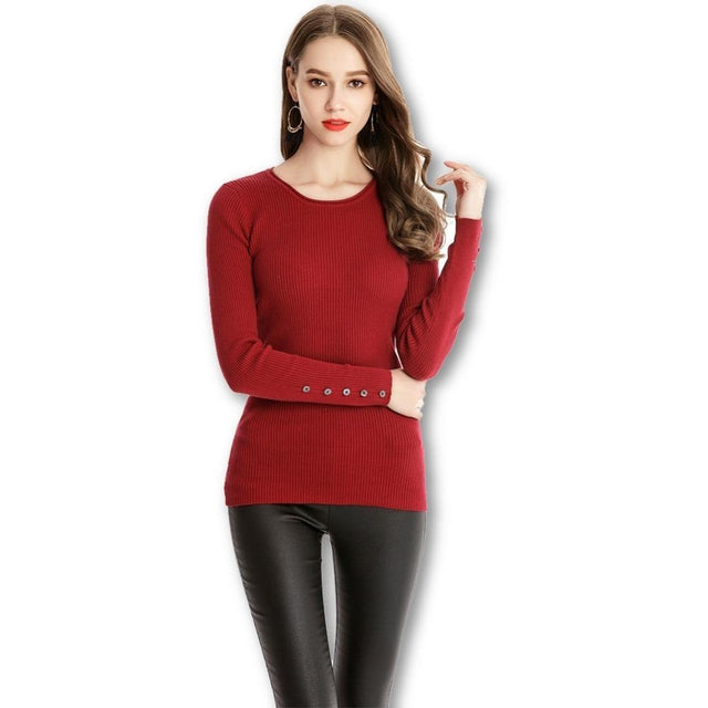 a36a8fabe91 Jewish Girl High Elastic Knitted Women Sweater And Pullover Female Autumn  Winter O-Neck Womens Wave Bottom Jumpers Pull Female