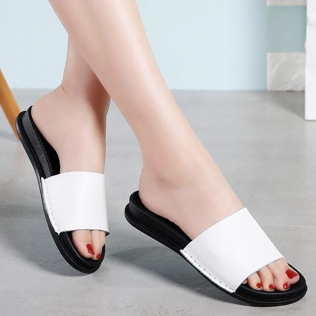 Black & White Casual wedges Cow Leather Flat Sandals