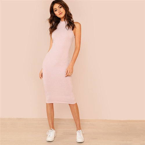 Pink Mock Neck Rib Knit Plain Pencil Sleeveless Bodycon Dress