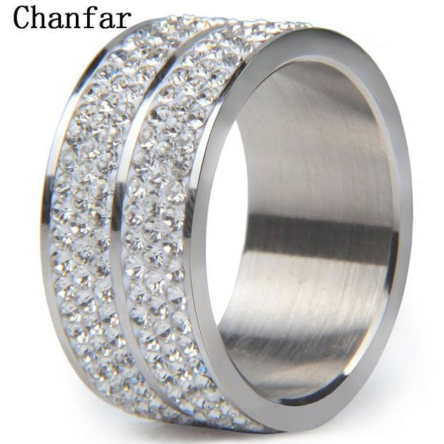 Chanfar Lines Double Crystal Stainless Steel Rings For Women Men Wedding Ring Fashion Jewelry