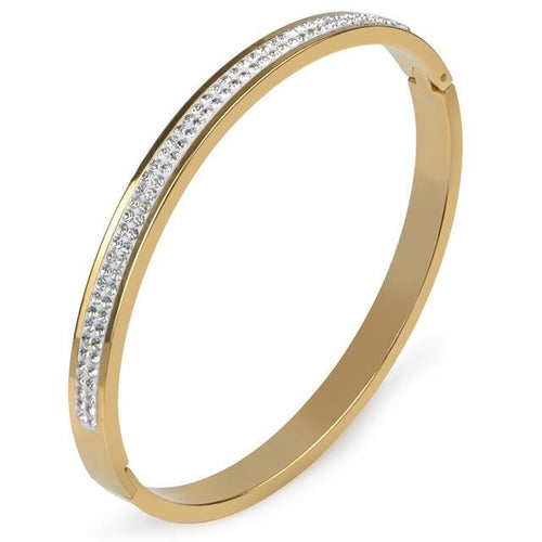 Luxury 2Rows Fashion AAA Rhinestone Gold Color Openining Stainless Steel Bangle Bracelet Love Cuff Bangle Women Men Jewelry