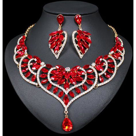 Fashion Crystal Statement Necklace & Earrings Sets Indian Wedding Party Costume Jewelry Sets for Brides Bridesmaid Women Gifts