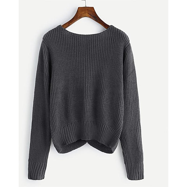 V-neckline Twist Front Grey Fashion Long Sleeve Sweater