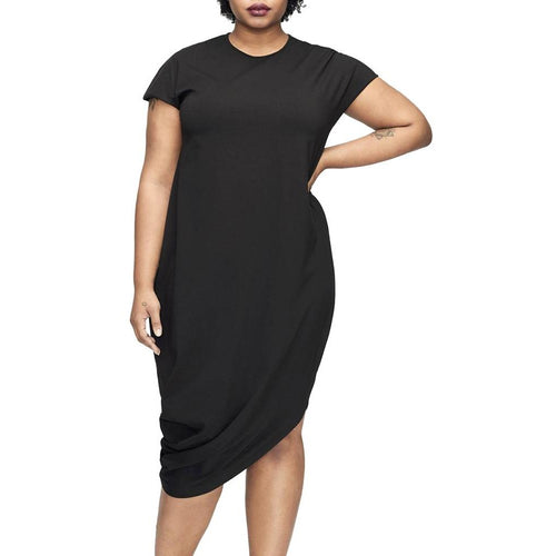 Jewish Girl 2018 Fashion Women Plus Size Dress XXXL Solid O Neck Short Sleeve T Shirt Dress Irregular Hem Loose Dress Blue/Black Ropa