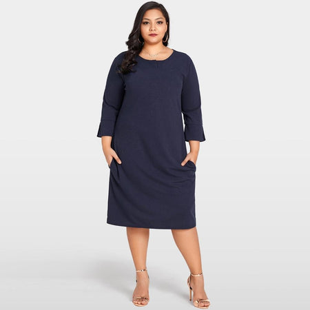 e2a16d67274 Jewish Girl Women Plus Size Dress 3 4 Sleeves Pockets Solid Casual Loose  Autumn Dress Elegant Party Dresses Large Sizes Vestidos Dark Blue