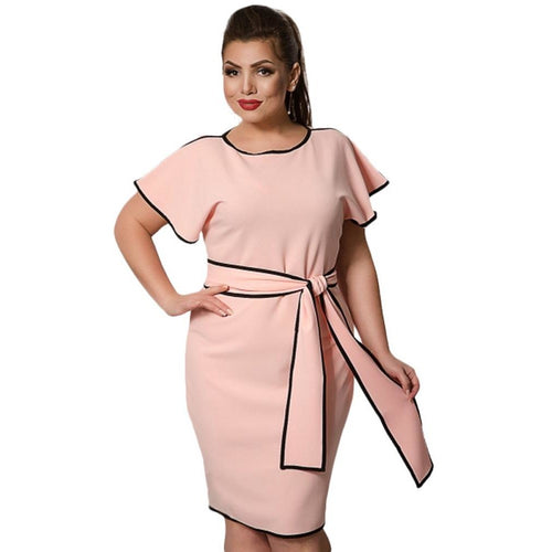 Jewish Girl Fashion Women Big Size Butterfly Sleeve Dress Contrast Trim 5XL 6XK Plus Size Midi Dress Elegant Office Ladies Dress with Sashes