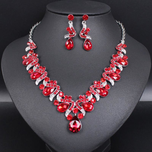 Silver Plated Necklace Earrings Sets Crystal Fashion Jewelry Sets