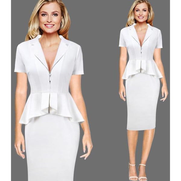 Vfemage Women Sexy Elegant Zipper Front Lapel Peplum Vintage Wear To Work Business Evening Party Bodycon Pencil Sheath Dress 011