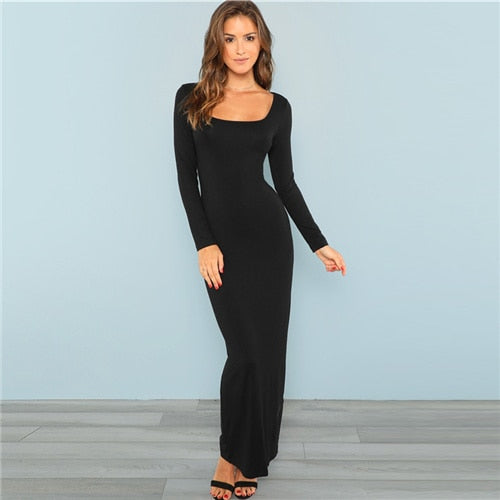 a7290862eaee Black Square Neck Long Sleeve Stretchy Bodycon Dressn – Jewish girl