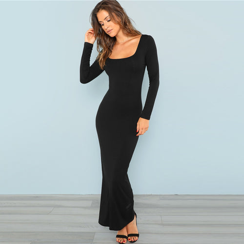 Black Square Neck Long Sleeve Stretchy Bodycon Dressn