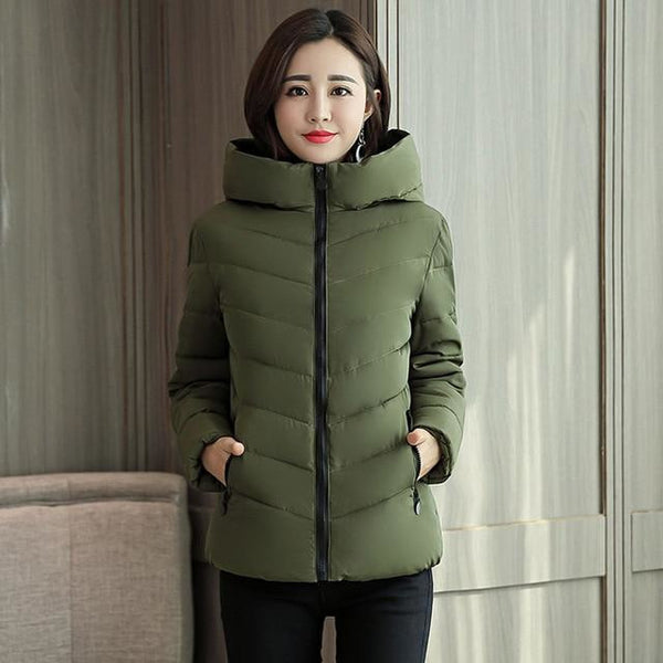 Stand Collar Hooded Winter Short Coat