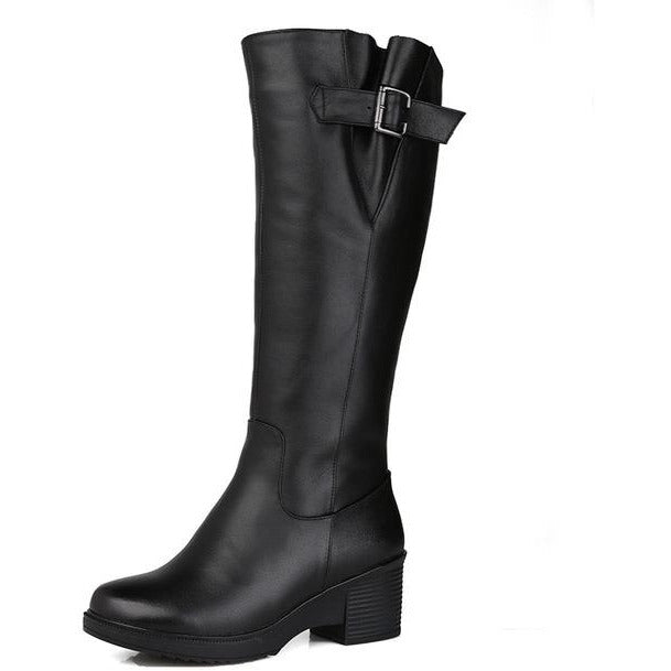 size 35-43 fashion genuine leather boots round toe zip mid calf boots women shearling wool winter keep warm snow boots