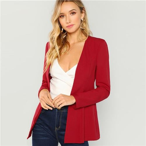 Burgundy Solid Pearl Beaded Hook Blazer Jacket