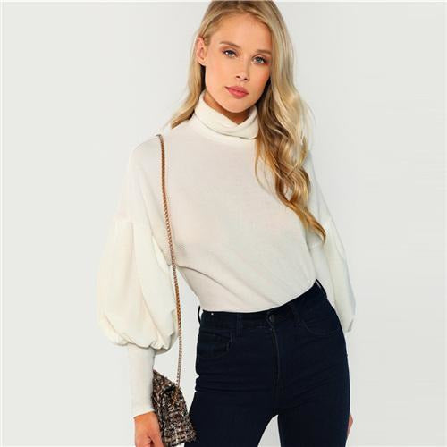 White Sweatshirt Mock Neck Leg-Of-Mutton Long Sleeve Shirts