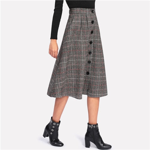 Grey High Waist Elegant Plaid Skirts Midi A-Line Skirt