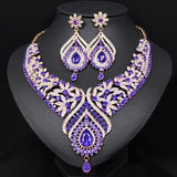 Fashion Crystal Statement Necklace & Earrings Sets Gold Color Indian Wedding Party Costume Jewelry Sets for Brides Women Gifts