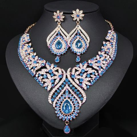 Fashion Crystal Statement Necklace Earrings Sets Gold Color Indian W Jewish Girl