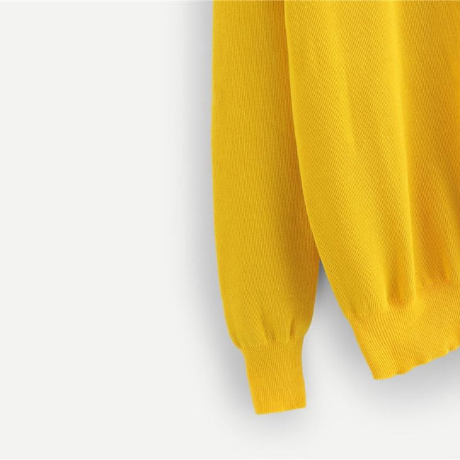 Yellow Preppy Knotted Tie Neck Stand Collar Sweater