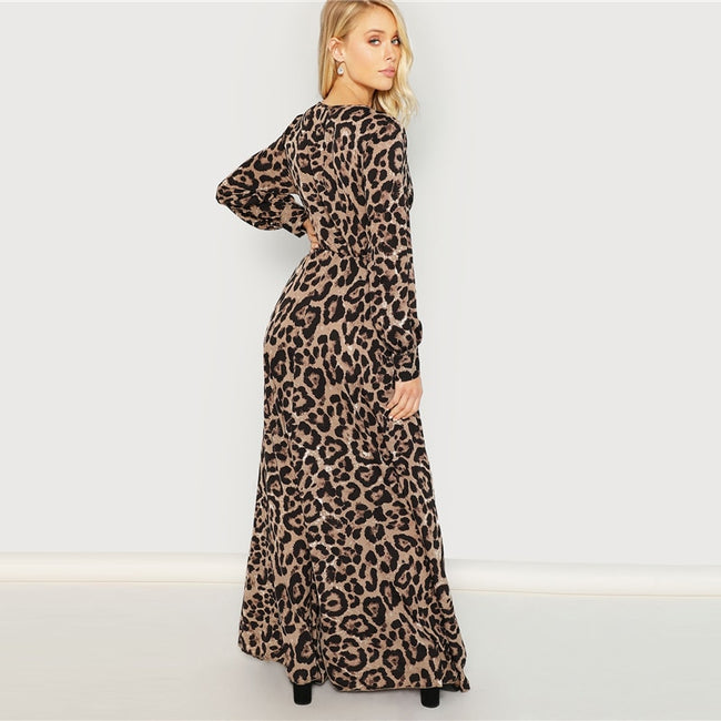 Multicolor Surplice Neck Leopard Print Maxi Dress