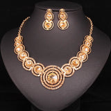 Gold Filled Crystal African Earrings Necklace Jewelry Sets