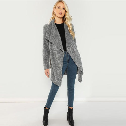 Grey Waterfall Warm Long Jacket