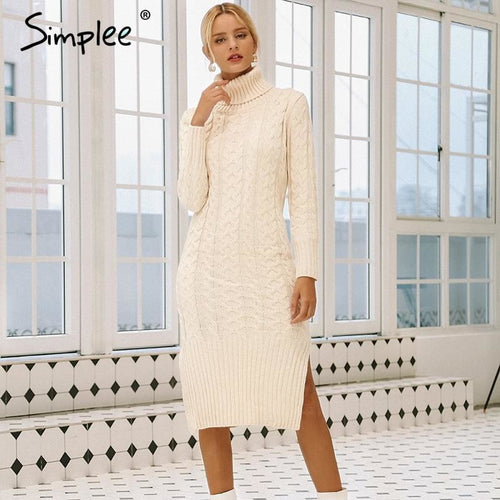 White Side split warm long sleeve Turtleneck fit autumn sweater dress