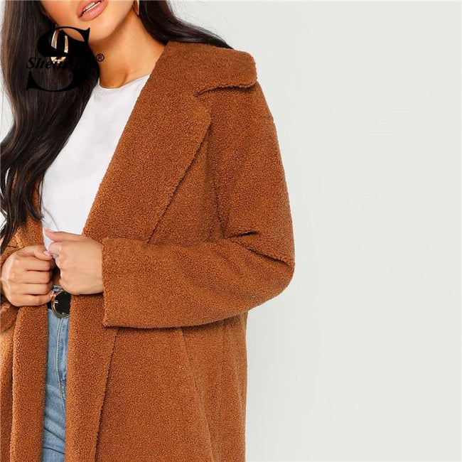 Coffee Autumn Winter  Long Jacket Elegant