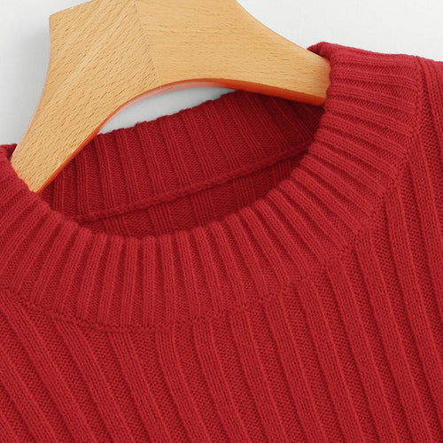 Red Bishop Jumper Round Neck Elegant Sweater