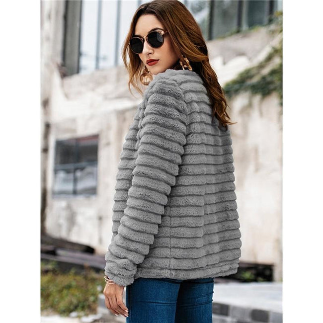 Casual Grey Solid Teddy Winter Jacket