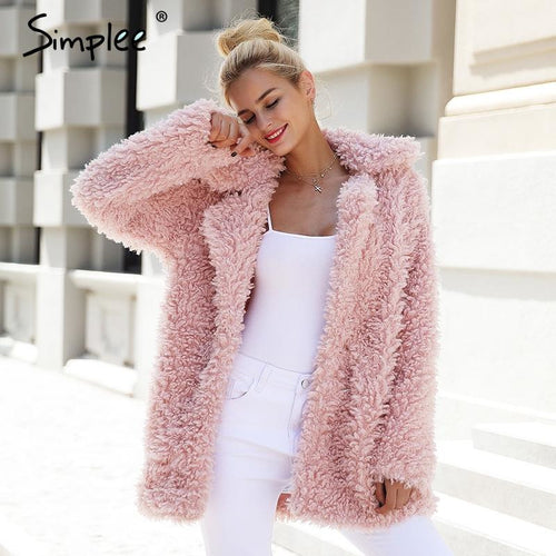 Pink Warm winter faux fur jacket