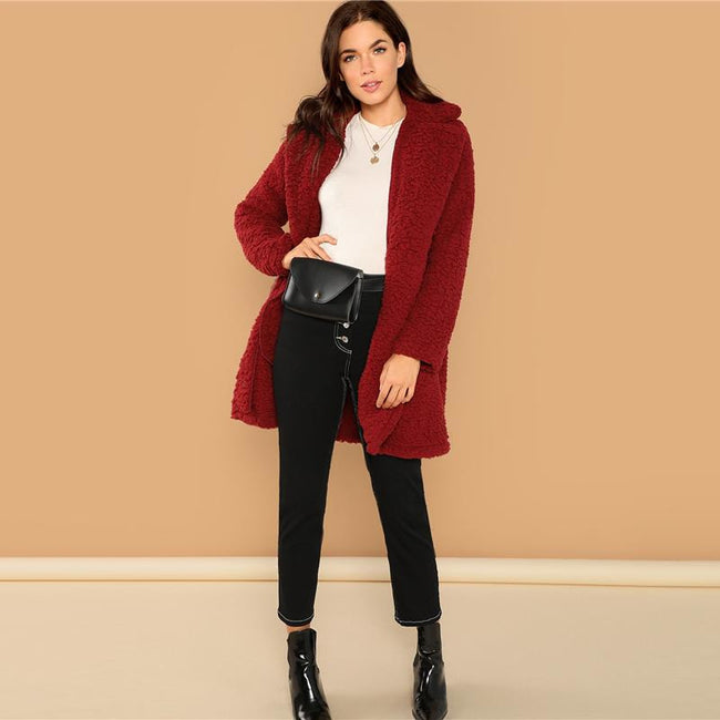 Fleece Teddy Overcoat Double Breasted Long t Jacket