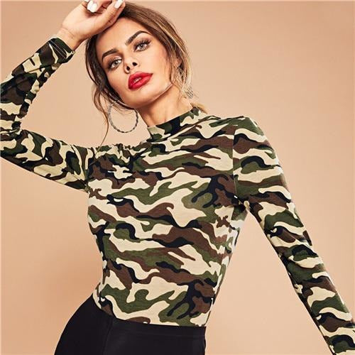 060be36663 Multicolor Mock Neck Camo Print Bodysuit Casual Skinny Mid Waist Long Sleeve  Stretchy Bodysuits Women Autumn Bodysuits