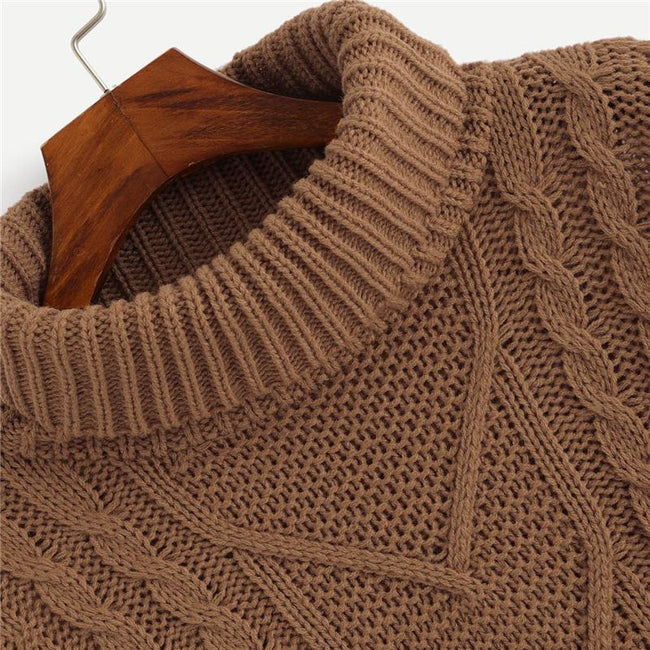 Coffee Mixed Knit Asymmetrical Pullover Sweater