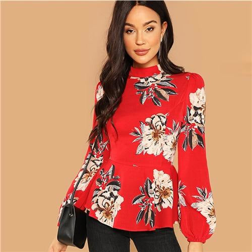 6f515e57ff Red Back Stand Long Sleeve Zipper Flower Print Tops Blouses – Jewish ...