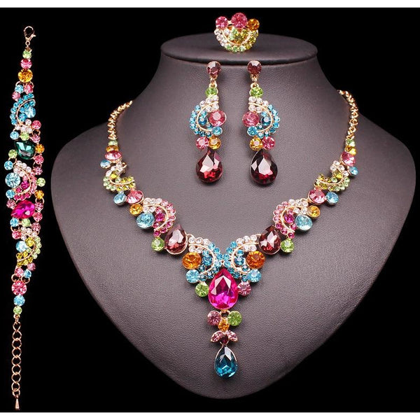 c9df9a06755 ... Fashion Crystal Earrings   Necklace Set Womens Jewelry Sets Indian  Luxury Bridal Wedding Party Costume Jewellery ...