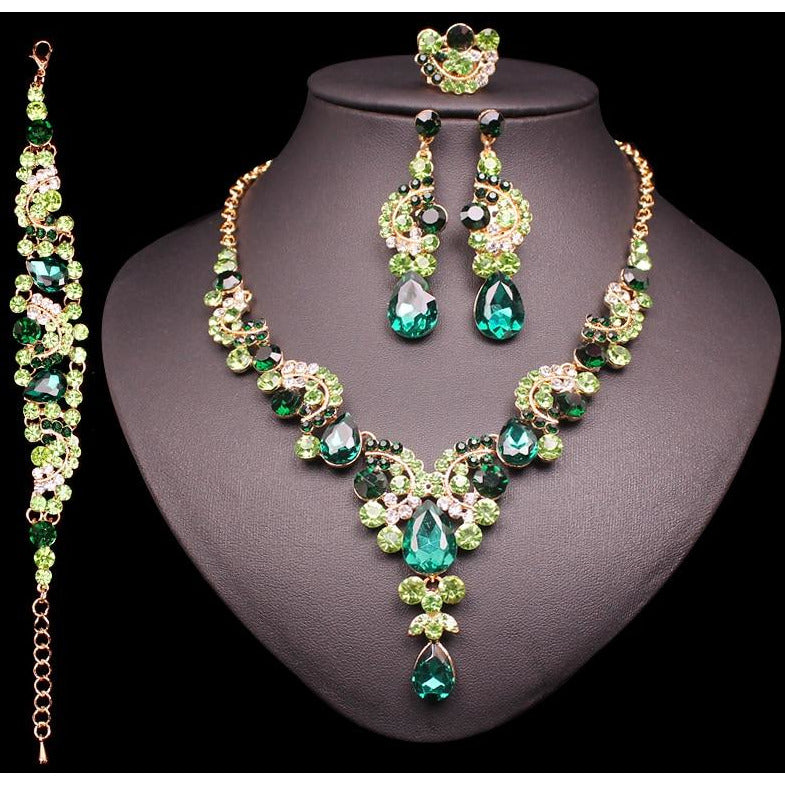 Fashion Crystal Earrings Necklace Set Womens Jewelry Sets Indian
