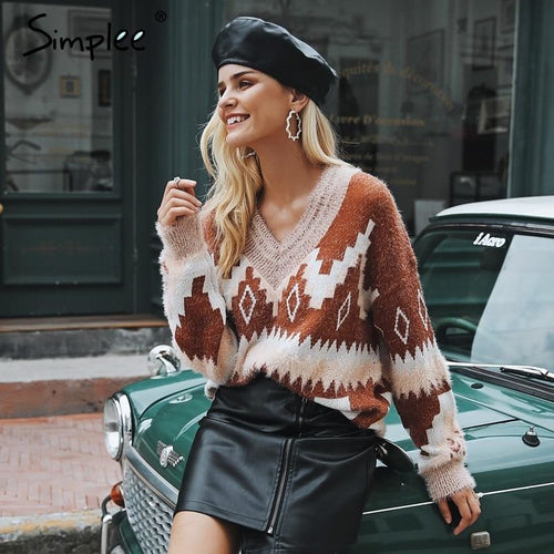 Simplee Christmas v neck geometric women sweater Casual long sleeve fashion pullover female 2018 Autumn winter jumpers