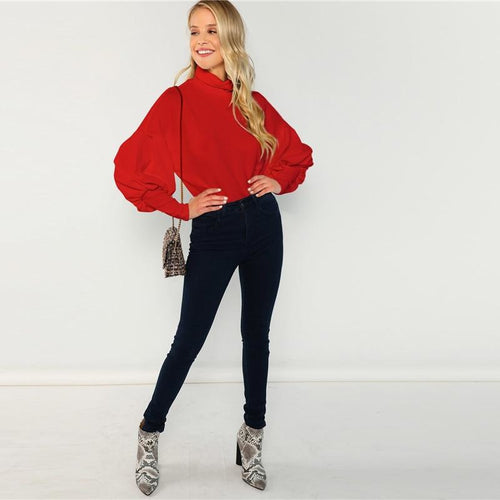 Red Neck Leg-of-Mutton Sleeve Pullover Sweatshirts