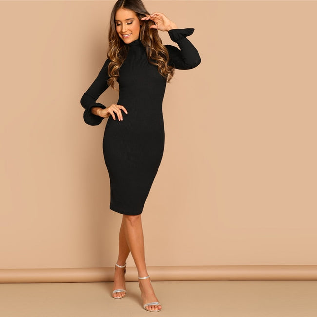 Black Flounce Sleeve Knee High Neck Pencil Bodycon Dress