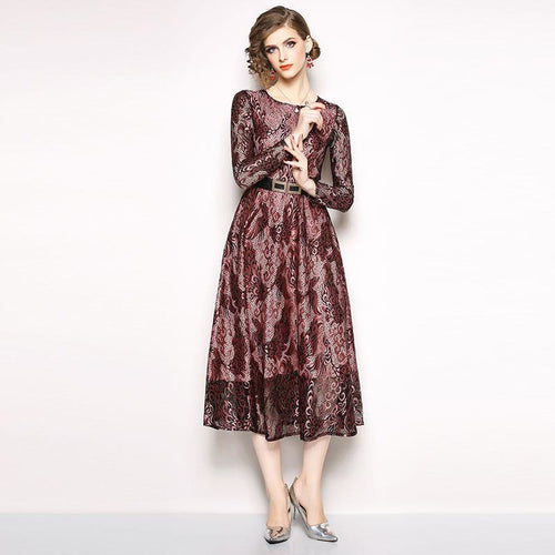 Ladies Elegant Party Dresses New Brand 2018 Autumn Fashion Vintage Big Swing A-line Women Casual Lace Long Dress N240