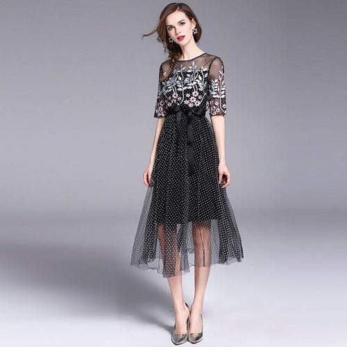 Summer Casaul Dress New 2018 Fashion Floral Embroidery Polka Dot Elegant Slim Women's Party Dresses M696