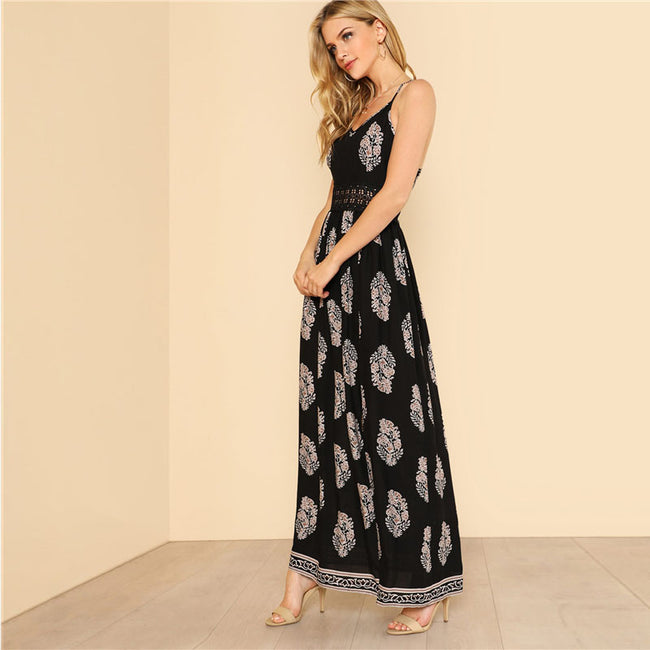 Black V Neck Spaghetti Strap Sleeveless Print Maxi Dress