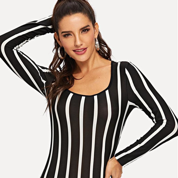 1205a07744 ... Going Out Modern Lady Black and White Square Neck Striped Skinny Mid  Waist Bodysuit Women Autumn ...