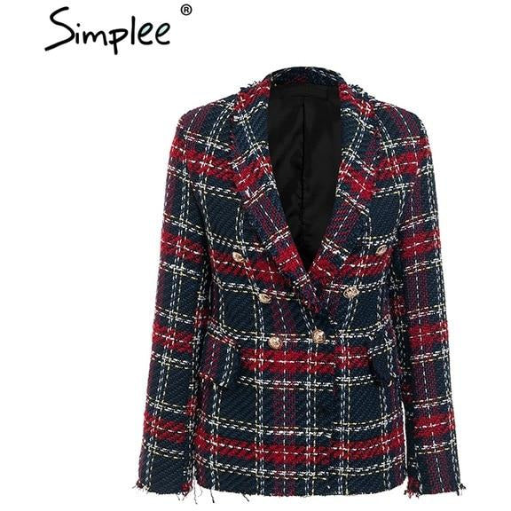Plaid tweed wool blazer women Turndown collar