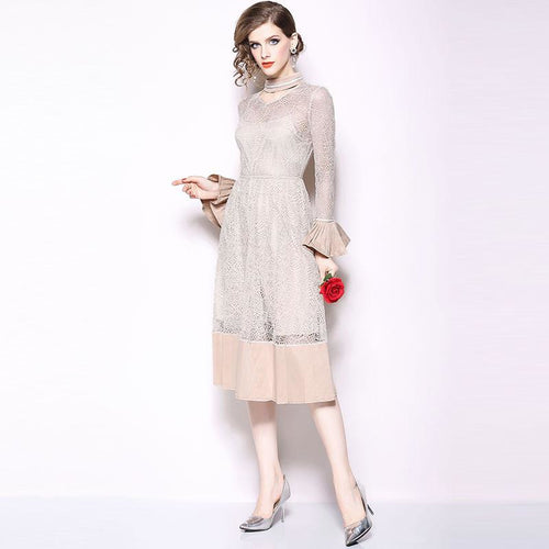 Beige Midi England Flare Long Sleeve A-Line Lace Dress