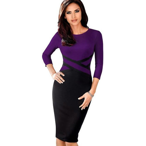 Purpol Color Patchwork Wear to Work vestidos Business Party Office Women Bodycon Dress B463
