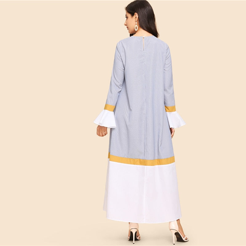 Multicolor Waist Belted Bell Sleeve Long A-Line Dress