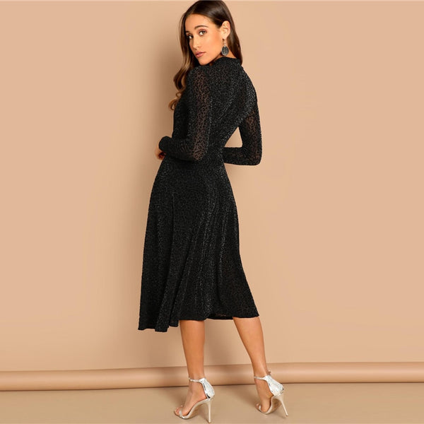 ... Black Sheer Sleeve Glitter Elegant Plain Stand Collar Long A-Line Dress  ... e8a93fd2a17b