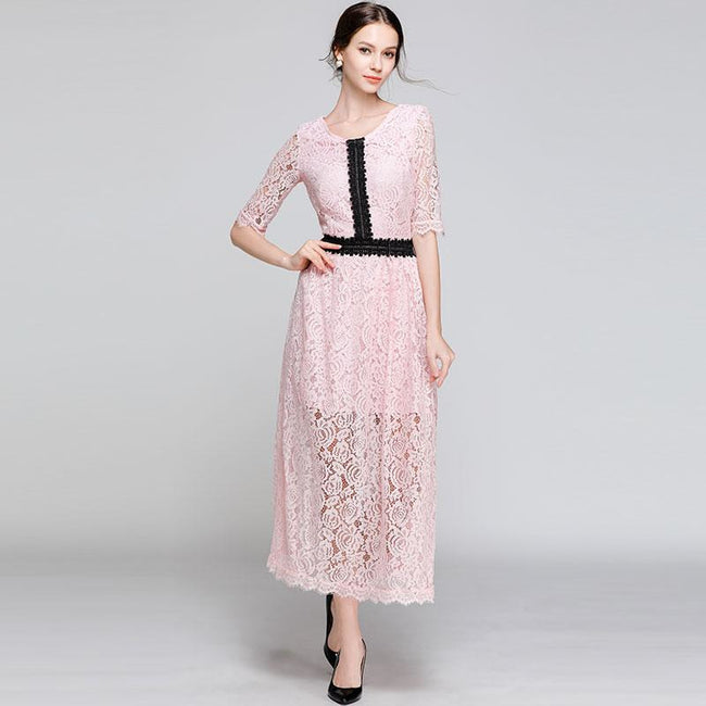 Luxury Lace Women Casual Long Dress New Brand 2018 Autumn Fashion O-neck A-line Elegant Ladies Party Dresses N348